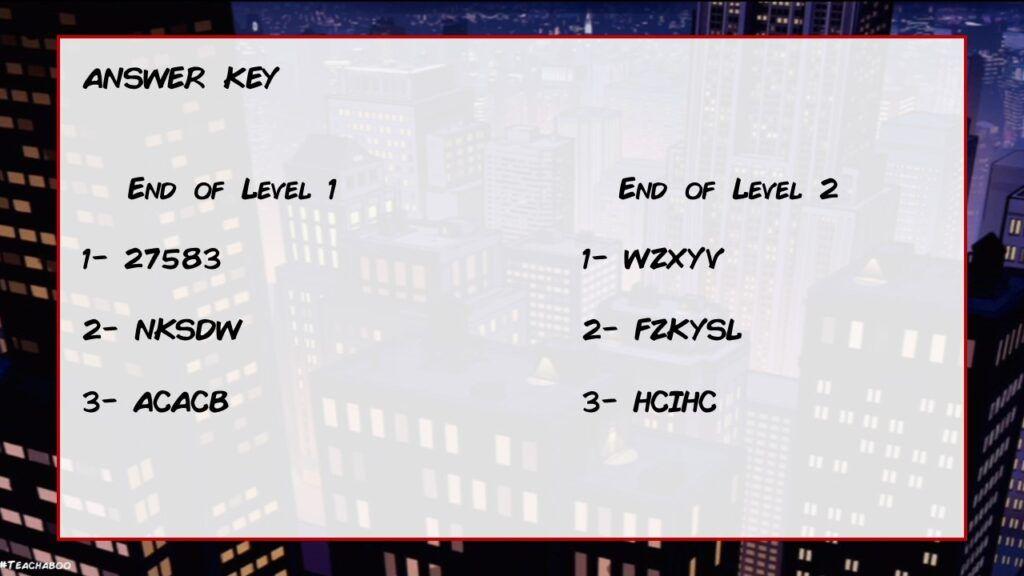 Digital Breakout Game X Men Edition Answer Key
