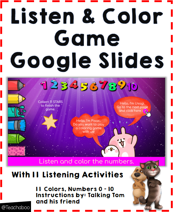 Online Listen and Color the Numbers Game Teachaboo