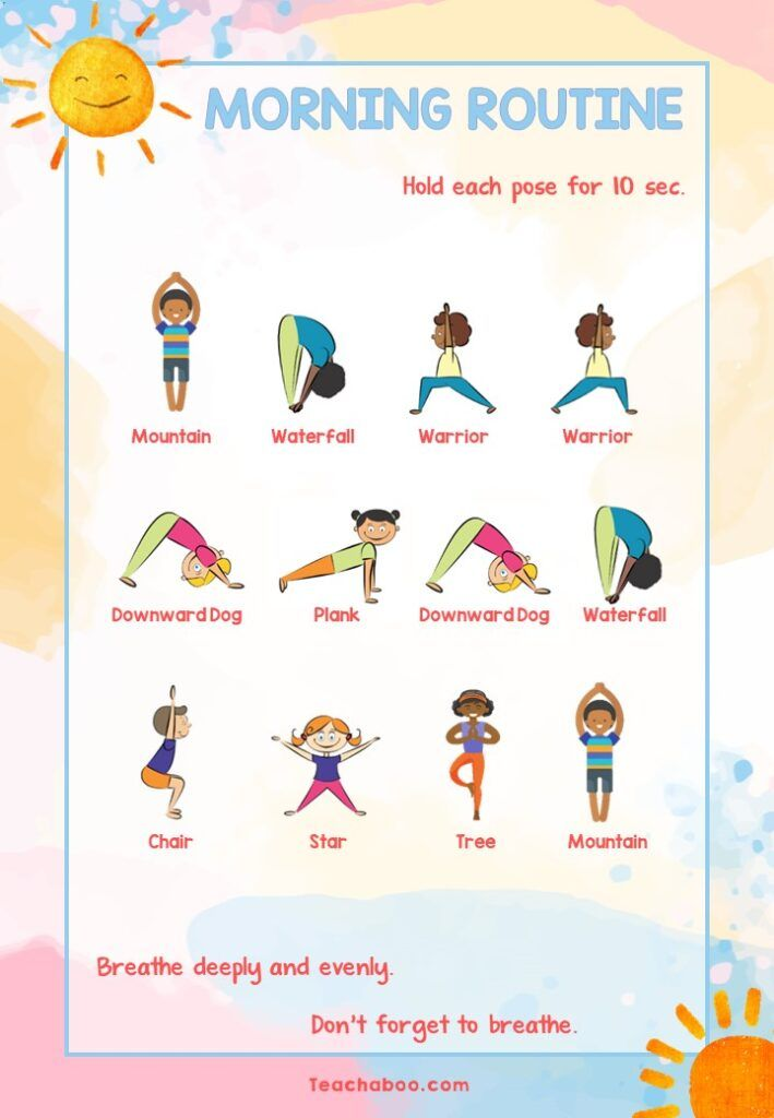 Teachaboo yoga mindfulness Morning Routine Poster sun salutation for kids